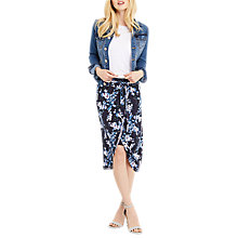 Buy Oasis Tropical Botanical Print Midi Skirt, Blue/Multi Online at johnlewis.com