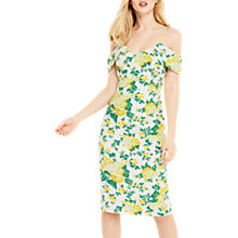Buy Oasis Blossom Print Cold Shoulder Pencil Dress, Natural/Multi Online at johnlewis.com