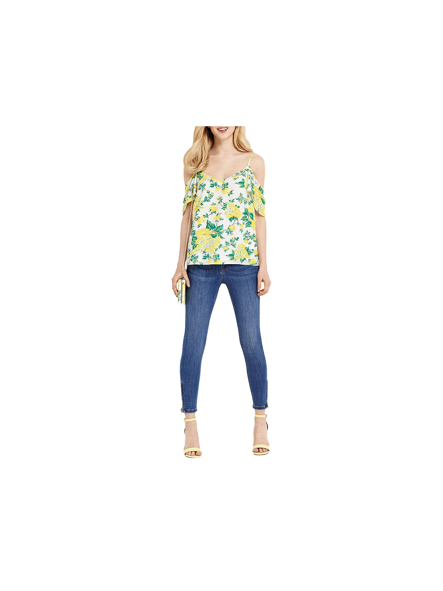 BuyOasis Blossom Print Cold Shoulder Cami, Natural/Multi, 8 Online at johnlewis.com