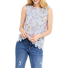 Buy Oasis Floral Chintz Lace Trim Shell Top, Blue/Multi Online at johnlewis.com
