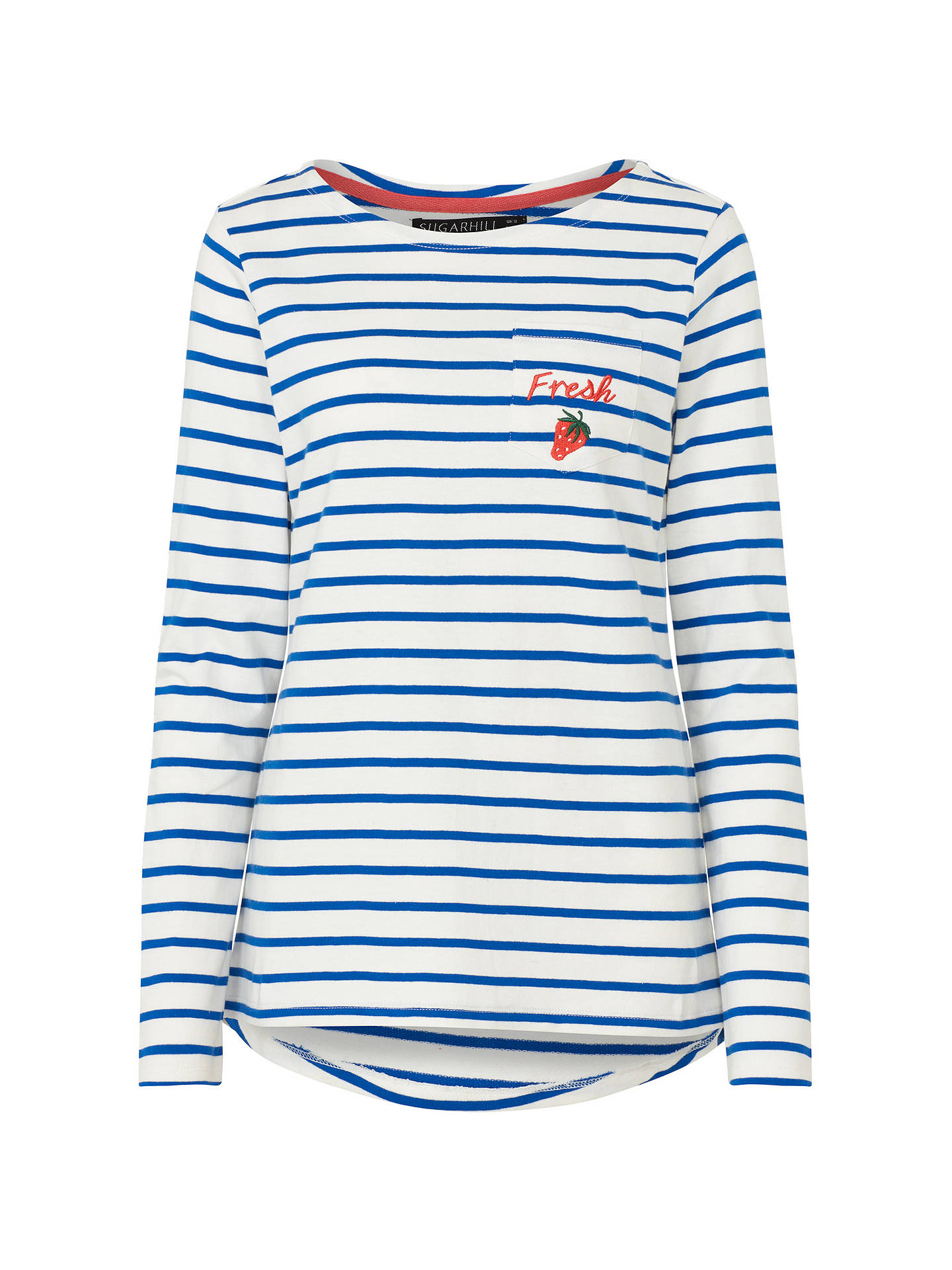 Buy Sugarhill Brighton Brighton Fresh Embroidered Top, White/Blue, 8 Online at johnlewis.com