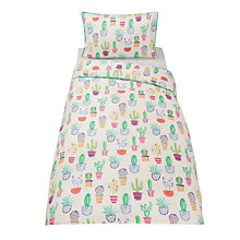 Buy little home at John Lewis Cactus Print Cotton Duvet Cover and Pillowcase Set Online at johnlewis.com