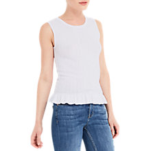 Buy Oasis Ribed Frill Tank Top, Off White Online at johnlewis.com