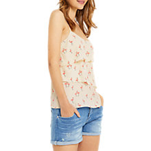 Buy Oasis Flamingo Print Tiered Cami, Natural/Multi Online at johnlewis.com