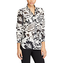 Buy Lauren Ralph Lauren Paisley Print Cotton-Silk Shirt, Pearl/Black Online at johnlewis.com