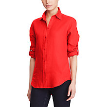 Buy Lauren Ralph Lauren Roll Cuff Linen Shirt, Fresh Tomato Online at johnlewis.com