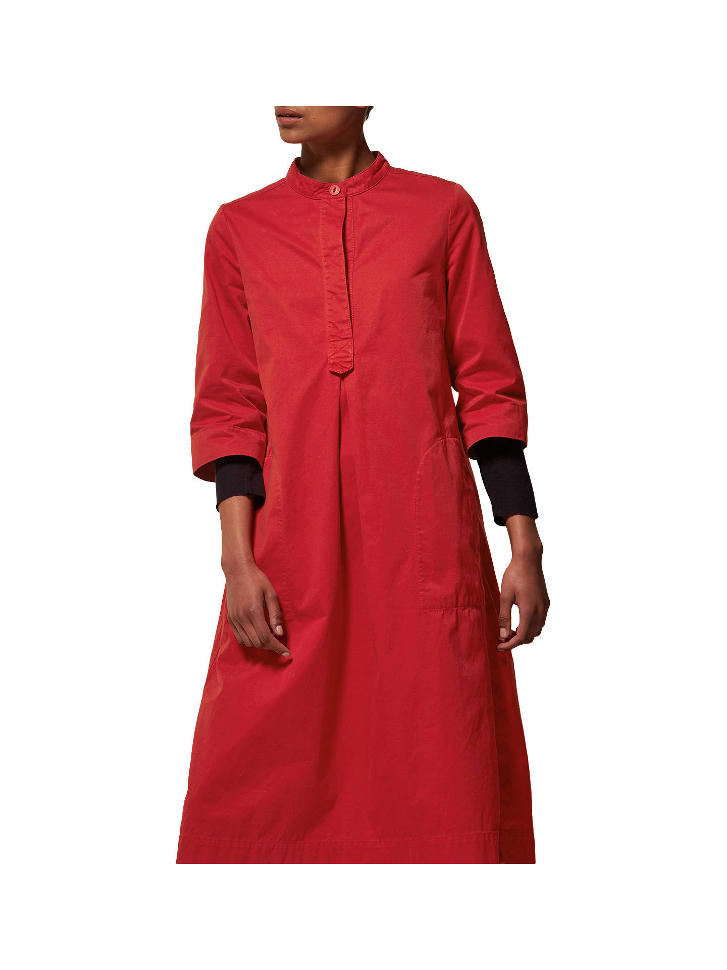 7c6082f75a8 Buy Toast Cotton Twill Tunic Dress, Scarlet, 8 Online at johnlewis.com ...