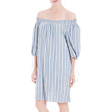 Buy Max Studio Off The Shoulder Stripe Dress, Blue/White Online at johnlewis.com