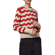 Buy Toast Wave Stripe Jumper, Silver/Cranberry Online at johnlewis.com