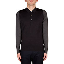 Buy John Smedley Brightgate Block Colour Polo Shirt, Hepburn Smoke Online at johnlewis.com