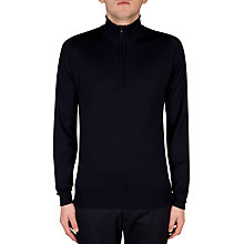 Buy John Smedley Barrow Half Zip Jumper, Midnight Online at johnlewis.com