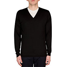 Buy John Smedley Belnehim V-Neck Jumper, Black Online at johnlewis.com