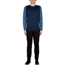 Buy John Smedley Hindlow Block Colour Crew Neck Jumper, Indigo/Derwent Blue Online at johnlewis.com