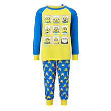 Buy Minions Children's Grid Pyjamas, Blue/Yellow Online at johnlewis.com
