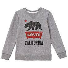 Buy Levi's Boys' Bear Print Sweatshirt, Grey Online at johnlewis.com