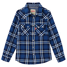 Buy Levi's Boys' Long Sleeve Check Shirt, Blue Online at johnlewis.com