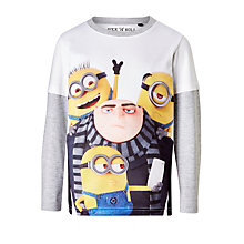 Buy Minions Children's Long Sleeved T-Shirt, White Online at johnlewis.com