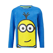 Buy Minions Children's Face Print T-Shirt, Blue Online at johnlewis.com
