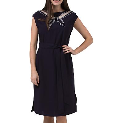 Sailor Dresses, Nautical Dress, Pin Up & WW2 Dresses Sugarhill Boutique Ahoy Cutwork Embroidered Dress NavyOff White £29.00 AT vintagedancer.com