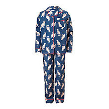 Buy John Lewis Children's Cheetah Print Pyjamas, Navy Online at johnlewis.com