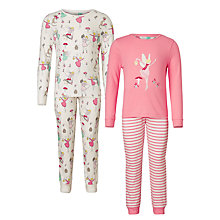 Buy John Lewis Children's Christmas Fairy Pyjamas, Pack of 2, Pink Online at johnlewis.com