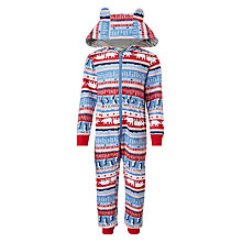 Buy John Lewis Children's Arctic Fair Isle Sweat Onesie, Blue/Red Online at johnlewis.com