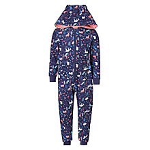 Buy John Lewis Children's Woodland Print Sweat Onesie, Navy Online at johnlewis.com