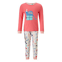 Buy John Lewis Children's Christmas Cat Print Pyjamas, Pink Online at johnlewis.com