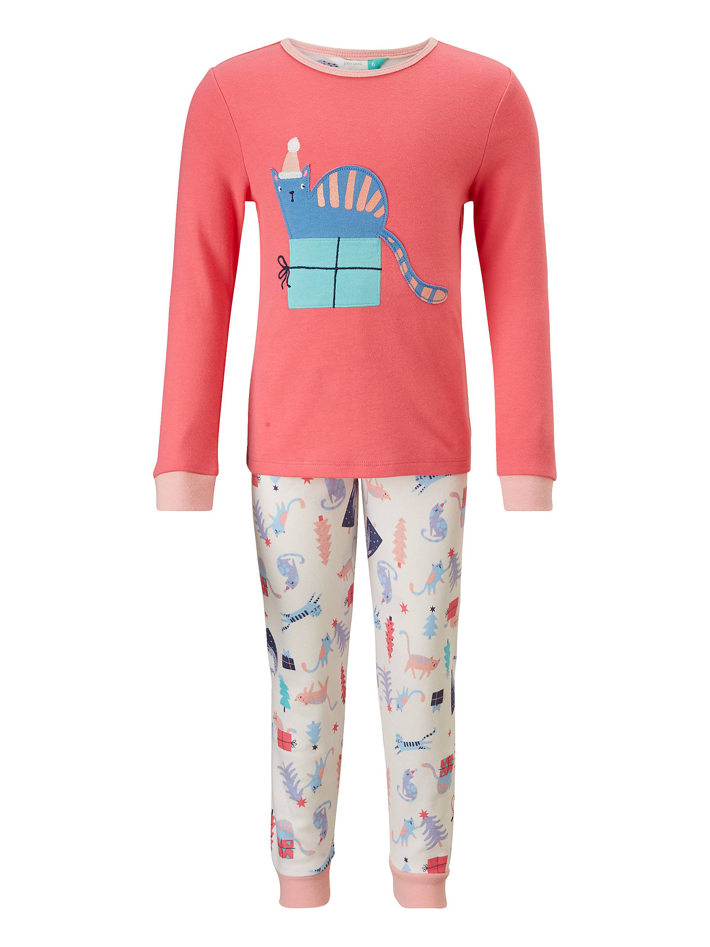 buyjohn lewis childrens christmas cat print pyjamas pink 2 years online at johnlewis - Childrens Christmas Pyjamas