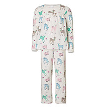 Buy John Lewis Children's Velour Fawn All-Over Print Pyjamas, Multi Online at johnlewis.com