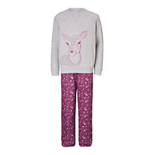 Buy John Lewis Children's Christmas Fawn Sweat Pyjamas, Red Online at johnlewis.com