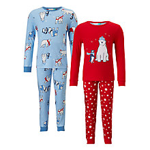 Buy John Lewis Children's Polar Bear Pyjamas, Pack of 2, Red/Blue Online at johnlewis.com