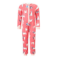 Buy John Lewis Children's Polar Bear Jersey Onesie, Pink Online at johnlewis.com