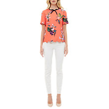 Buy Ted Baker Syndi Tropical Oasis Bow and Scallop Detail Top, Mid Red Online at johnlewis.com