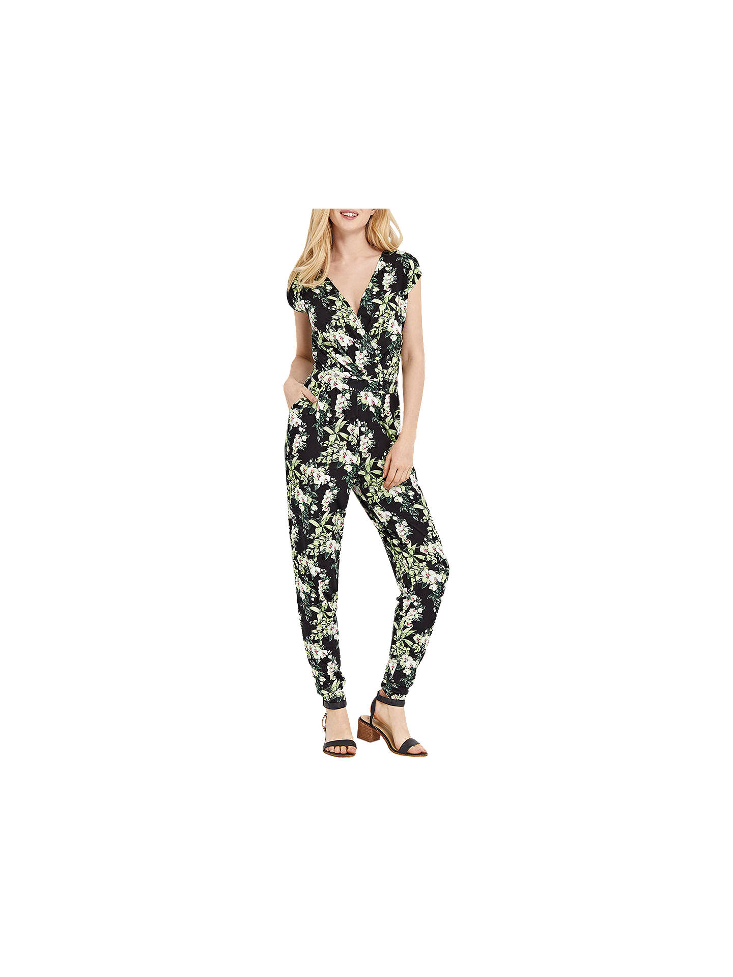 7e2ab5fcc140 Buy Oasis Botanical Tropical Floral Print Jumpsuit, Black/Multi, XS Online  at johnlewis ...