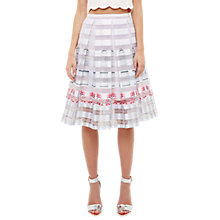 Buy Ted Baker Niica Window Box Burnout Print Skirt, Baby Pink Online at johnlewis.com