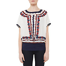 Buy Ted Baker Farito Rowing Stripe Printed Top, Navy Online at johnlewis.com
