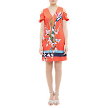 Buy Ted Baker Leea Tropical Oasis Cut-Out Shoulder Tunic Dress, Mid Red Online at johnlewis.com