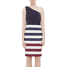 Buy Ted Baker Hilila Rowing Stripe One-Shoulder Dress, Navy Online at johnlewis.com