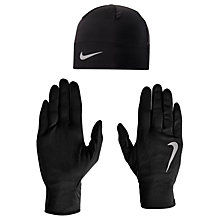 Buy Nike Dri-Fit Beanie Hat and Glove Set, Black/Silver Online at johnlewis.com