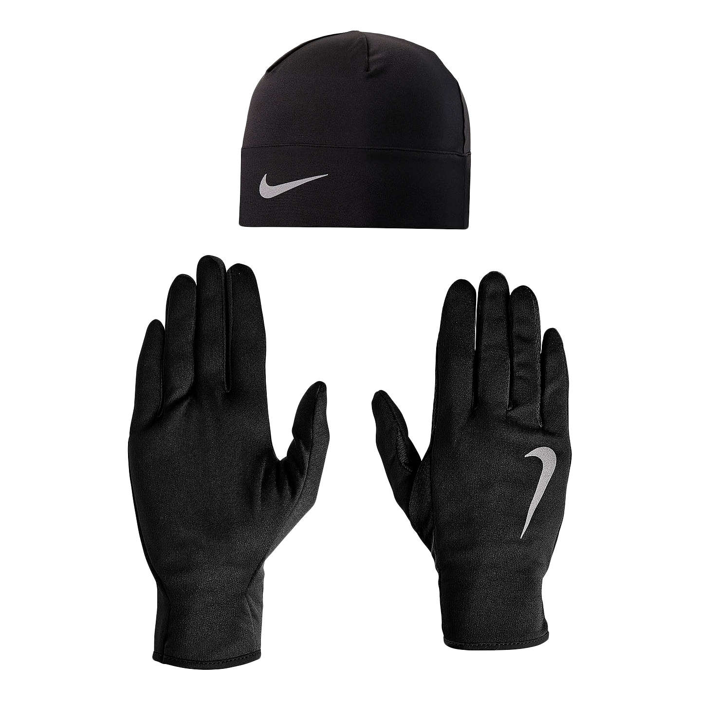 BuyNike Dri-Fit Beanie Hat and Glove Set, Black/Silver, S/M Online at johnlewis.com