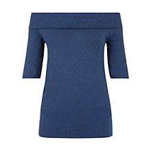 Buy Hobbs Gail Bardot Top, Indigo Marl Online at johnlewis.com