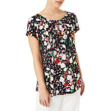Buy Precis Petite Floral Print Jersey Top, Black/Multi Online at johnlewis.com