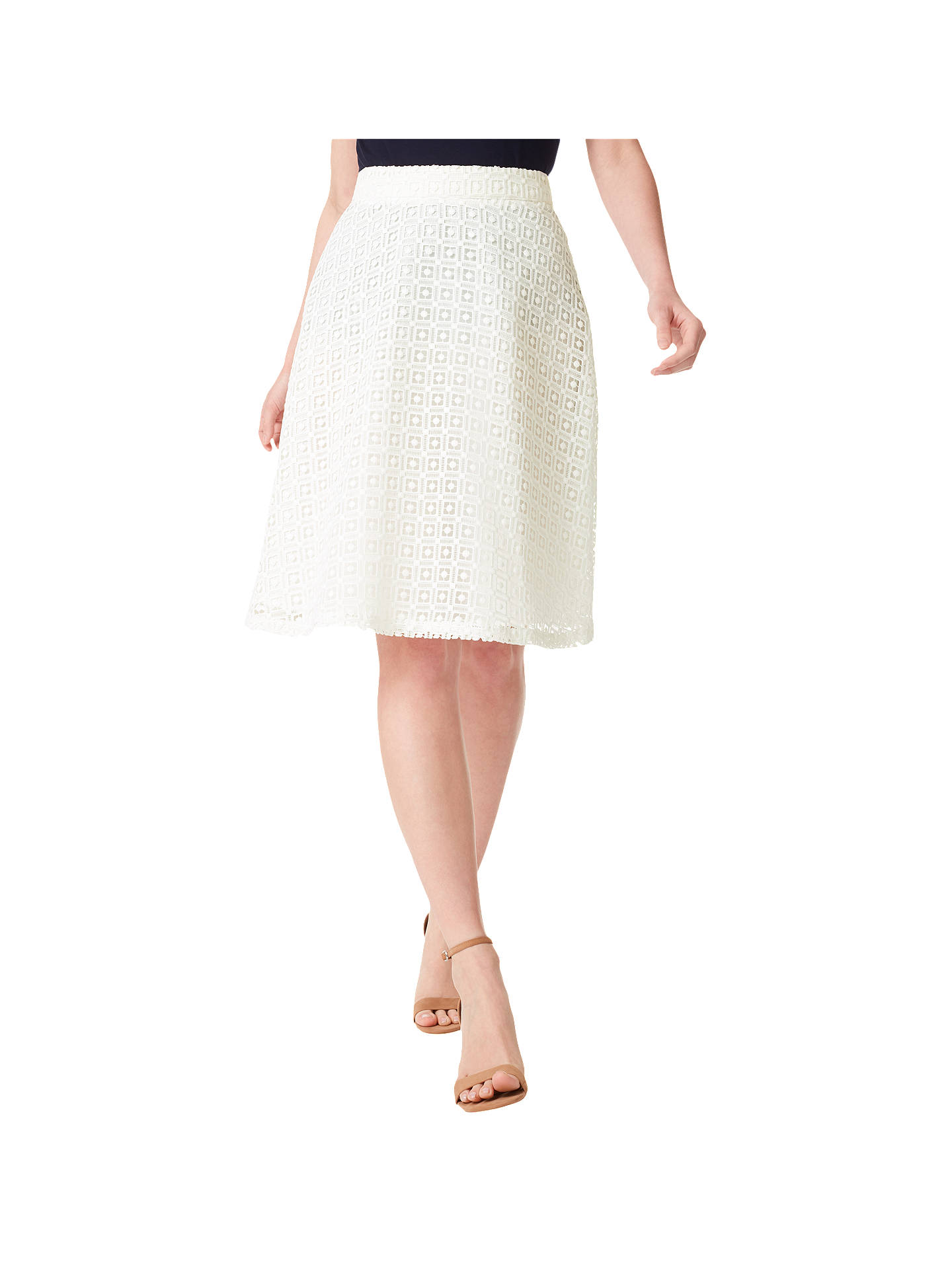 23793d9317 Buy Precis Petite Lace Midi Skirt, White, 6 Online at johnlewis.com ...