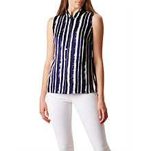 Buy Hobbs Marcella Stripe Top, Blueberry/Ivory Online at johnlewis.com