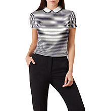 Buy Hobbs Bailey Stripe Collared Top, Ivory/Navy Online at johnlewis.com