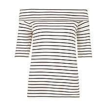 Buy Hobbs Gail Stripe Bardot Top, Navy/White Online at johnlewis.com