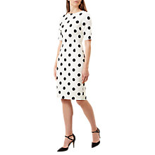 Buy Hobbs Astraea Spot Print Dress, Ivory/Black Online at johnlewis.com