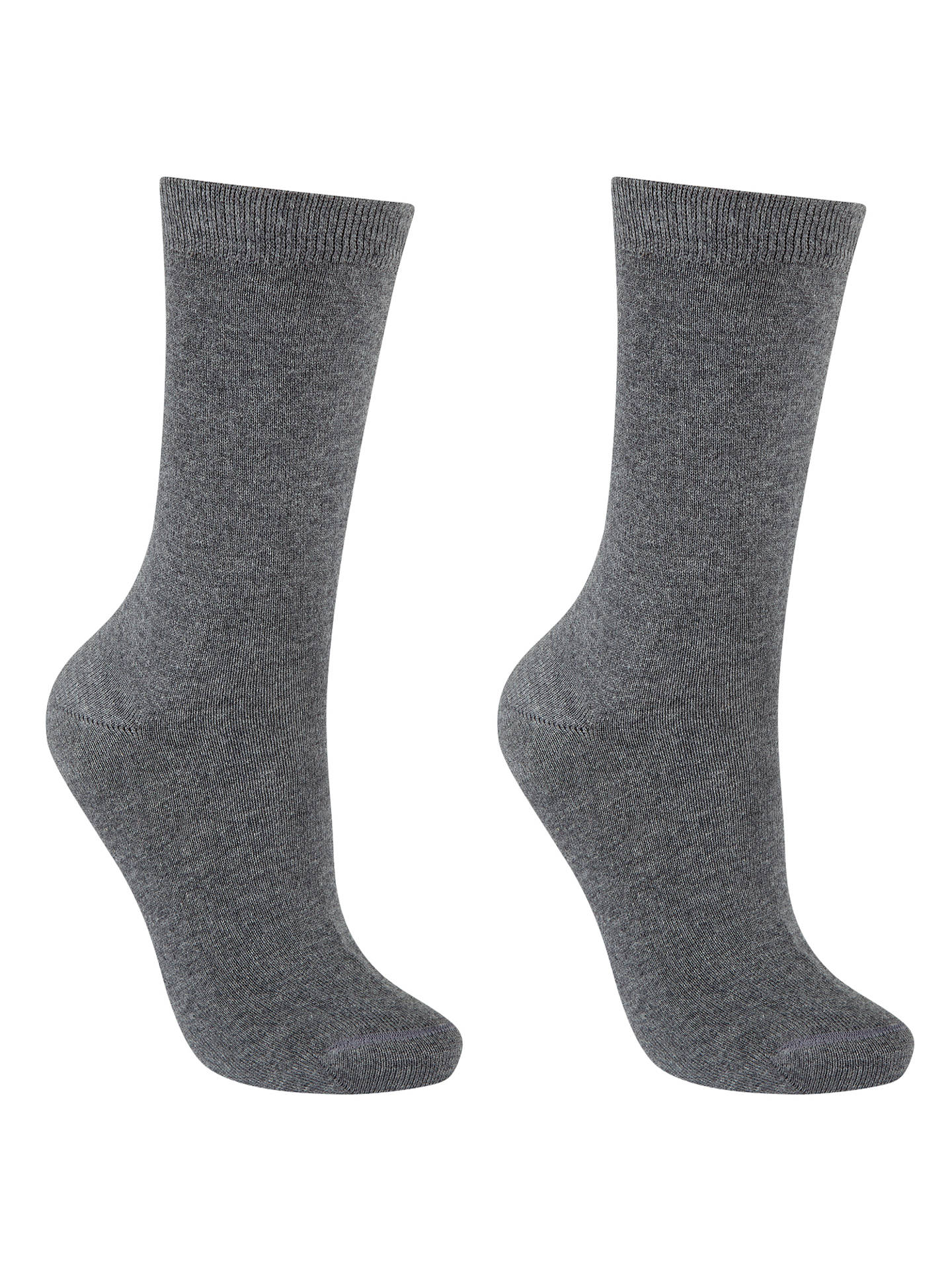 BuyJohn Lewis & Partners Egyptian Cotton Ankle Socks, Pack of 2, Grey, S-M Online at johnlewis.com