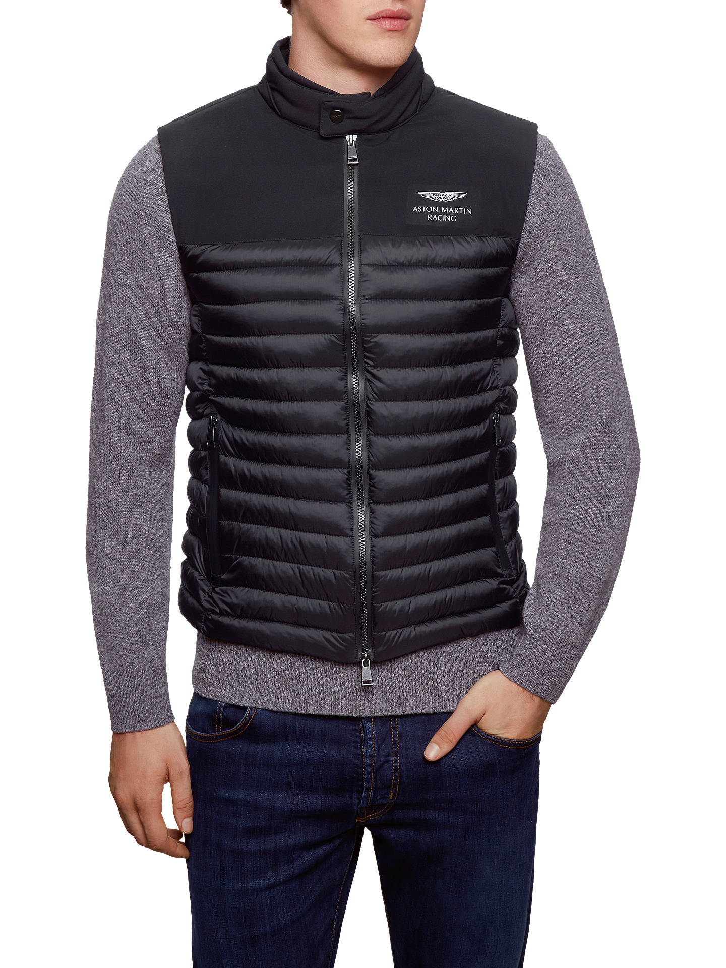 91f74cce57 Buy Hackett London AMR Gilet, Black, S Online at johnlewis.com ...